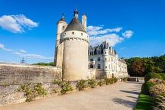 Chateau de Chenonceau castle, France. Chateau de Chenonceau is a french castle spanning the River Cher near Chenonceaux village, Loire valley in France royalty free stock photos