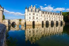 Chateau de Chenonceau castle, France stock photos