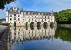 Chateau de Chenonceau on the Cher River - France, the Loire Valley royalty free stock image