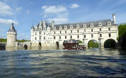 Chateau de Chenonceau on the Cher River - France, the Loire Valley. Medieval Chateau de Chenonceau spanning River Cher in Loire Valley in France royalty free stock photography