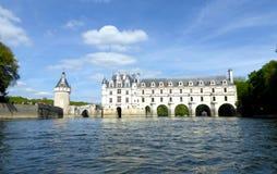 Chateau de Chenonceau on the Cher River - France, the Loire Valley. Medieval Chateau de Chenonceau spanning River Cher in Loire Valley in France royalty free stock photos