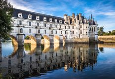 Chateau de Chenonceau on the Cher River, Loire Valley, France Royalty Free Stock Images