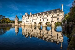 Chateau de Chenonceau on the Cher River, Loire Valley, France.  Royalty Free Stock Images