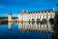 Chateau de Chenonceau on the Cher River, Loire Valley, France.  Stock Photography