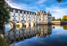 Chateau de Chenonceau on the Cher River, Loire Valley, France.  royalty free stock photography