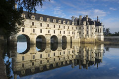 Chateau de Chenonceau at dawn. Loire Valley castle near the village of Chenonceaux, France Royalty Free Stock Photos