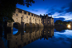 Chateau de Chenonceau at dusk. Loire Valley castle near the village of Chenonceaux, France royalty free stock photography