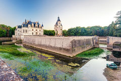 The Chateau de Chenonceau in the evening, France. The Chateau de Chenonceau, France. This castle is located near the small village of Chenonceaux in the Loire stock images