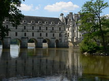Chateau de Chenonceau ( France ). View of Chenonceau castle and Cher river Royalty Free Stock Photos