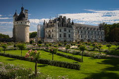 Chateau de Chenonceau, France. Chateau de Chenonceau is a French chateau spanning the River Cher, near the small village of Chenonceaux in the Indre-et-Loire Royalty Free Stock Images