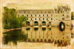 Chateau de Chenonceau. France. Chenonceau palace and gardens. Chenonceaux. France. vintage style series Stock Photography