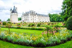 Park of The Chateau de Chenonceau is a French chateau spanning the River Cher, near the small village of Chenonceaux in stock image