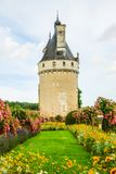 Tower of The Chateau de Chenonceau is a French chateau spanning the River Cher, near the small village of Chenonceaux in. The Chateau de Chenonceau is a French royalty free stock photos