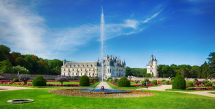 Chateau de Chenonceau, Loire Valley, France. The Chateau de Chenonceau is a castle near the small village of Chenonceaux on the River Cher,Loire Valley, France royalty free stock image
