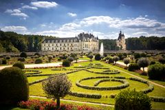 Chateau de Chenonceau, Loire Valley, France. Chenonceau, France: The Chateau de Chenonceau, medieval french castle in Loire Valley. It was built in 15-16 century stock photo