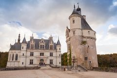 Chateau de Chenonceau, medieval castle. In Loire Valley. It was built in 15 century, mixture of late Gothic and early Renaissance. Unesco heritage site stock image