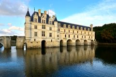 Chateau de Chenonceau with reflections, Loire, France Royalty Free Stock Photography