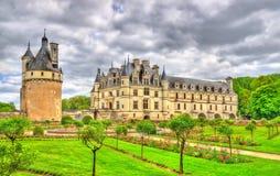 Chateau de Chenonceau sul fiume di Cher - Francia fotografie stock libere da diritti
