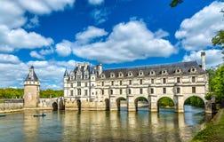 Chateau de Chenonceau sul fiume di Cher - Francia immagine stock
