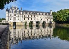 Chateau de Chenonceau sul fiume di Cher - Francia, il Loire Valley immagine stock libera da diritti