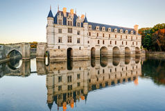 The Chateau de Chenonceau at sunset, France. The Chateau de Chenonceau, France. This castle is located near the small village of Chenonceaux in the Loire Valley royalty free stock image