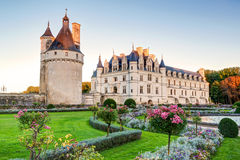 The Chateau de Chenonceau at sunset, France. The Chateau de Chenonceau, France. This castle is located near the small village of Chenonceaux in the Loire Valley royalty free stock photo