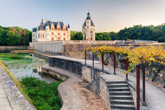 The Chateau de Chenonceau at sunset, France. The Chateau de Chenonceau, France. This castle is located near the small village of Chenonceaux in the Loire Valley stock image