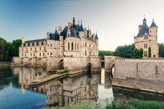 The Chateau de Chenonceau at sunset, France Stock Image