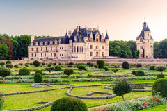 The Chateau de Chenonceau at sunset, France Royalty Free Stock Images