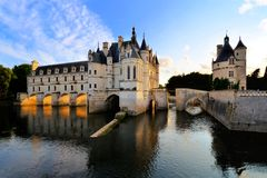 Chateau de Chenonceau at sunset, Loire, France Stock Photo