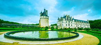 Chateau de Chenonceau Unesco medieval french castle and pool gar. Chateau de Chenonceau royal medieval french castle and garden. Chenonceaux, Loire Valley royalty free stock image