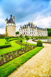 Chateau de Chenonceau Unesco medieval french castle and pool gar Stock Photos