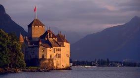 Chateau de Chillon在夜之前,蒙特勒,瑞士 库存照片