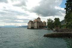 Chateau de Chillon κοντινό Μοντρέ στην Ελβετία Στοκ Εικόνες