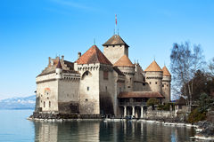 Chateau de Chillon. On the lake Leman, Switzerland royalty free stock photo