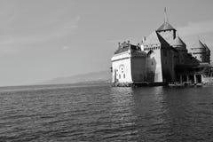 Chateau de Chillon im Monochrom Lizenzfreie Stockfotos