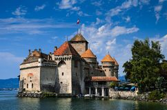 Chateau de Chillon on Lake Geneva, Switzerland Stock Images