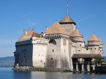 Chateau de Chillon at Lake Geneva in Switzerland. Beautiful view of famous medieval Chateau de Chillon at Lake Geneva in Switzerland in Canton of Vaud with Stock Photo