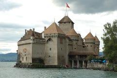 Chateau de Chillon närliggande Montreux i Schweiz Arkivbild