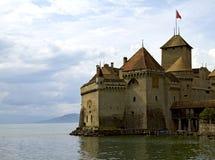 Chateau DE Chillon op Meer Genève stock foto