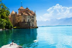 Chateau de Chillon panorama Royalty Free Stock Photo