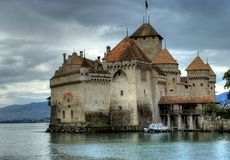 Chateau de Chillon in switzerland Royalty Free Stock Images