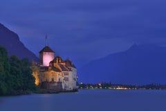 Chateau de Chillon vid natt, Montreux, Schweiz Fotografering för Bildbyråer