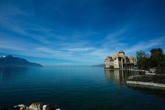Chateau de Chillon y el lago Lemán Imagen de archivo