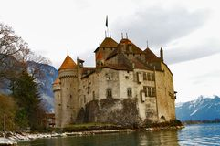 Chateau DE Chillon, Zwitserland Stock Afbeeldingen