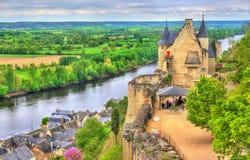 Chateau de Chinon i Loiret Valley - Frankrike Fotografering för Bildbyråer