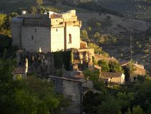 Chateau de dio, a castle in the herault department, france. Chateau de dio, a castle in the village of dio-et-valquieres, in the department of herault, Languedoc stock photos