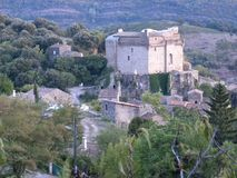 Chateau de dio, a castle in the herault department, france. Chateau de dio, a castle in the village of dio-et-valquieres, in the department of herault, Languedoc royalty free stock images