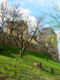 Chateau de Fayrac ( France ). View of the Fayrac castle in Dordogne blurred by tree branches Royalty Free Stock Photography