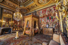 Chateau de Fontainebleau bedroom, France Royalty Free Stock Images